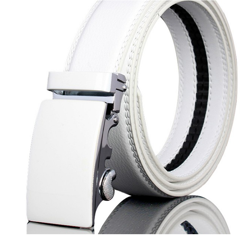 Automatic buckle belt unisex 110 cm -160 cm, 2019 new boy girl belt white and black