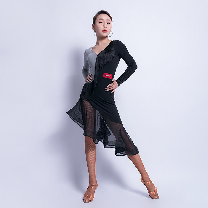 Women Latin Dance Dress Sexy Tango Salsa Cha Cha Fringe Performance Outfit Samba Rumba Ballroom Practice Dancing Wear DF1756