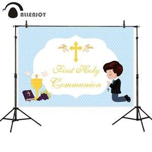 Image 1 - Allenjoy Achtergrond Eerste Heilige Communie Blauwe Stippen Jongen Prins Cross Baby Shower Party Achtergrond Photozone Photophone Photobooth