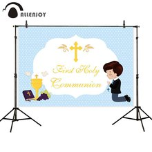 Allenjoy พื้นหลัง First Holy communion Blue DOTS Boy Prince CROSS Baby Shower PARTY ฉากหลัง photozone photophone Photobooth