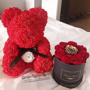 DIY Valentines Day Gifts Red Rose Bear Artificial foam Roses Flower Wedding Engagement Decoration little Bear Mold bear Ted