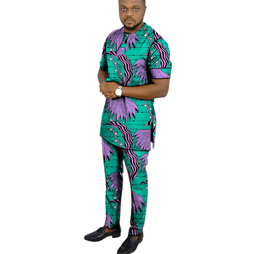 African Clothes Men's Print Set Short Sleeve Shirt With Trouser Ankara Fashion Pant Sets Customize Wedding Male Formal Outfits