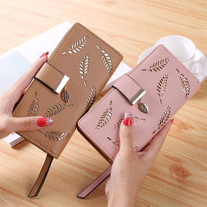 Purse Female Handbag Card-Holders Clutch Long Wallet Gold Women for Hollow-Leaves-Pouch