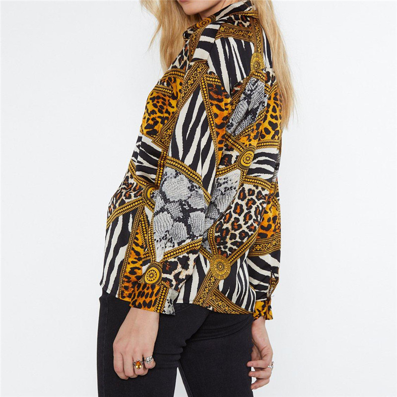 Women Tops and Blouses Leopard Chain Print Vintage Chiffon Blouse Shirt Casual V Neck Office Blouse Ladies Tops Blusas Plus Size in Blouses amp Shirts from Women 39 s Clothing