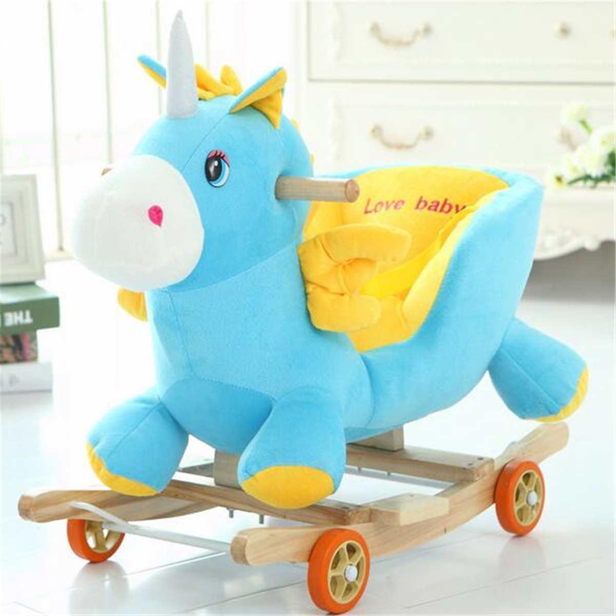 Mecedora de madera y plushh con música, mecedora de juguete troyano, cochecito de bebé, carrito infantil para regalo de cumpleaños para niños - 3