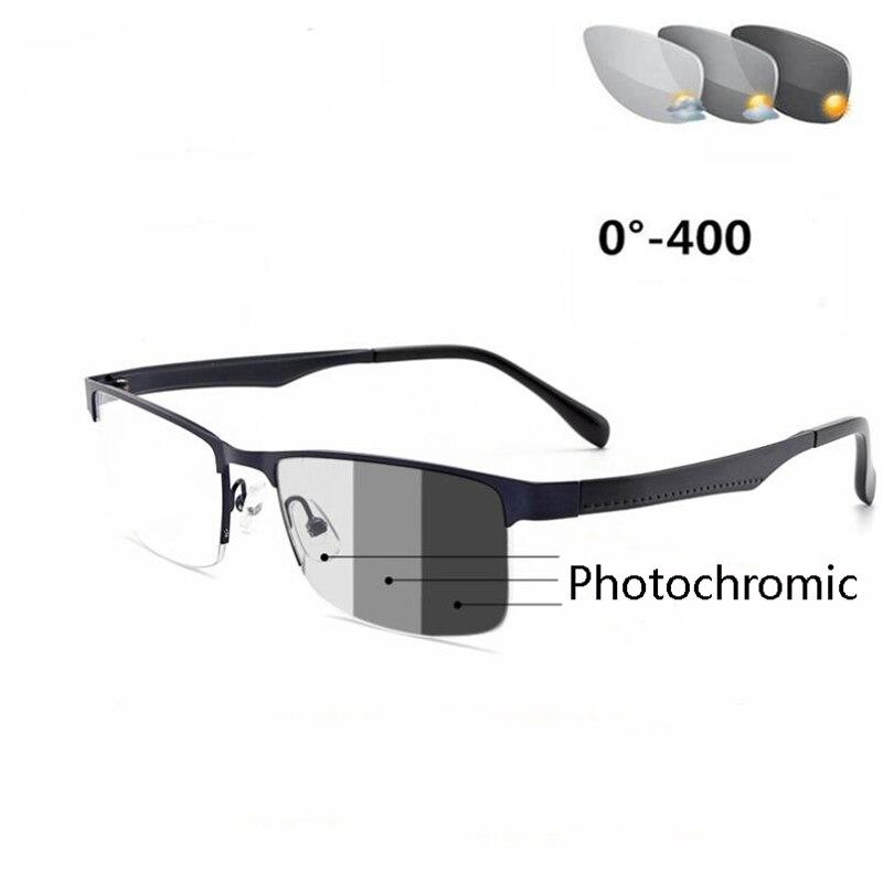 Gafas para miopía cuadradas fotocromáticas con acabado de medio Marco, gafas graduadas con camaleón para hombre-50-75 To-400