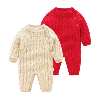 Knitted Baby Romper Newborn Winter Christmas Baby Clothes Thick Fleece Warm Baby Girl Romper Cotton Baby Jumpsuit Boy Romper фото