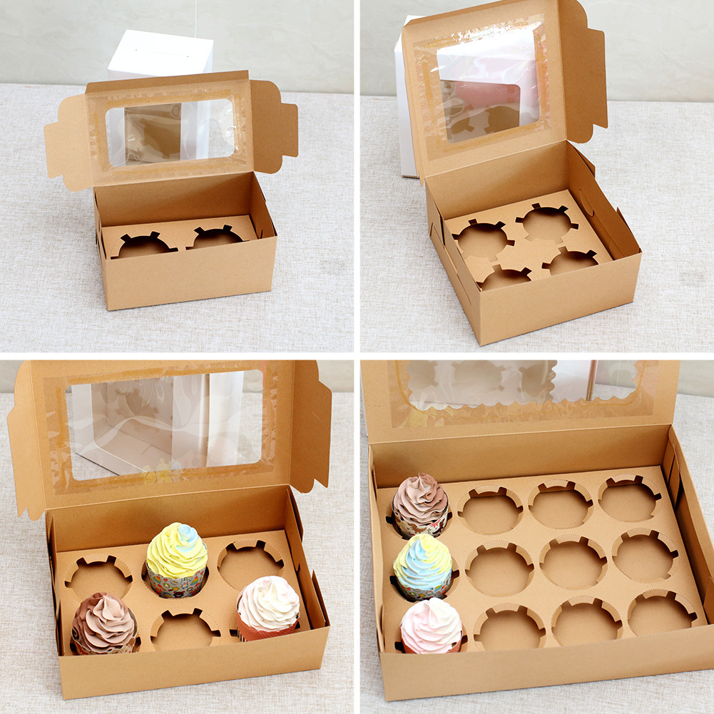 Muffin Box Cupcake Glass Cake Biscuits Packing  Box