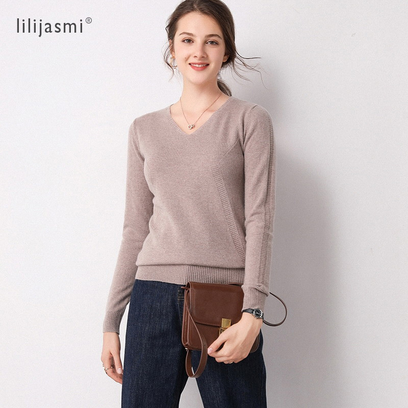 Fashion Women's V-neck 100% Merino Wool Front Sleeve Knit Slim Stripe Sweater Trend Colors Pullover Sweater Ladies Jumpers