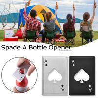 1Pcs Stainless Steel Black/Silver Poker Card Spade A Wine Beer Bottle Opener Innovative Can Jar Remover Kitchen Bar Tools