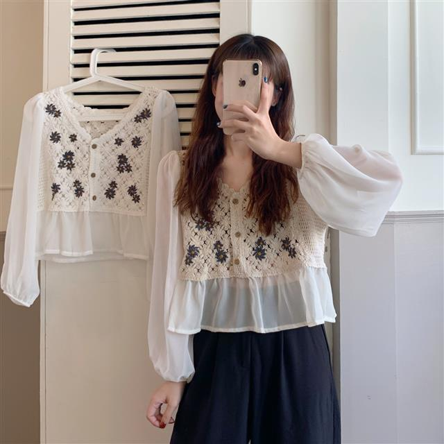 New White Vintage Embroidery Chiffon Blouses Women Sexy Puff Sleeve Tops Elegant Lady Ruffles Shirts Fall Blusas Mujer Plus Size 1