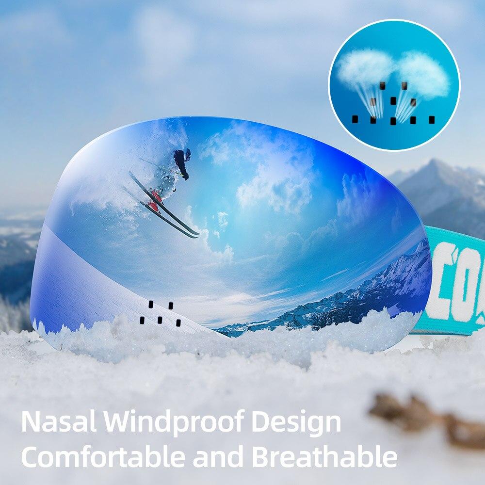 COPOZZ Professional Ski Goggles Double Layers Uv400 Protection Anti-fog Nasal Wingproof Ski Glasses Snowboard Skiing Glasses