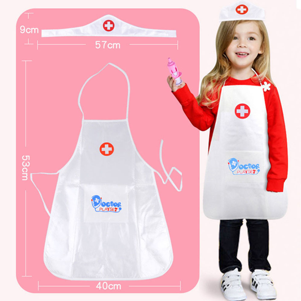 New 1 Clothing 1 Hat Pretend Play Toy Set Doctor Clothing Toys Children Play Role Doctor Nurse Set For Children Girl Toy