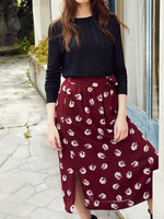 Autumn New Tulip women midi Skirt Romantic flower Print Lace up Bow ladies long Skirts holiday