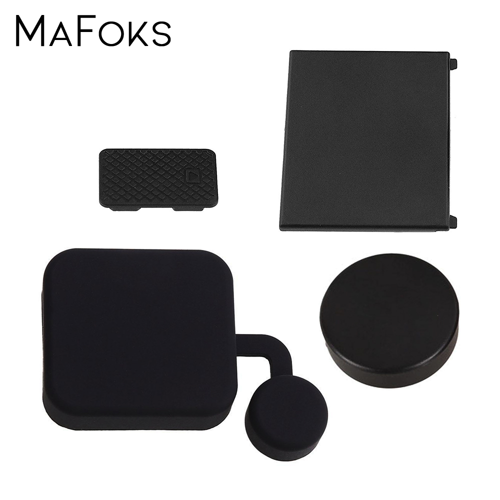 <font><b>4</b></font> in 1 Housing Lens Cap Replacement <font><b>Battery</b></font> Door Side Door Cover For <font><b>GoPro</b></font> <font><b>Hero</b></font> <font><b>4</b></font> 3+ Black Silver Camera Go Pro Accessory image