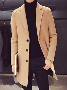 Coat Jacket Long-Windbreaker Thickening Woolen Mens Medium Casual New And Business Solid