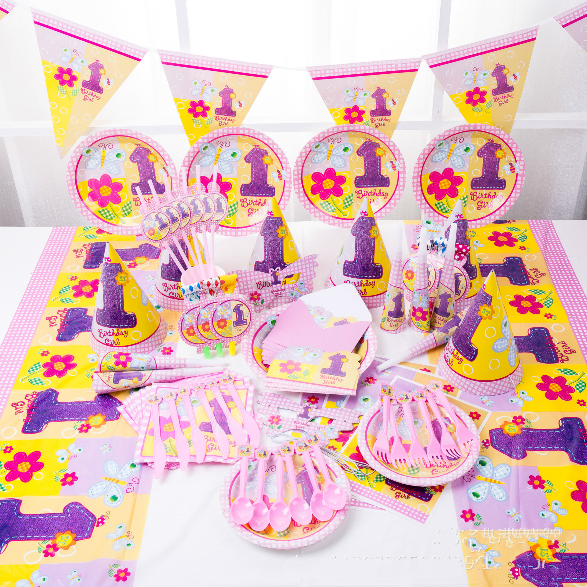 Baby Party Supplies Set 6 People 1 Year Old Flower Theme Birthday Party Supplies Set Baby Gift Child Girls Party Supplies Set