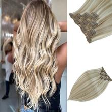 цена на Leshine Remy Clip In Human Hair Extensions ash blonde hair extensions Double Drawn Clip Hair Silky Straight Hair 7pcs/set