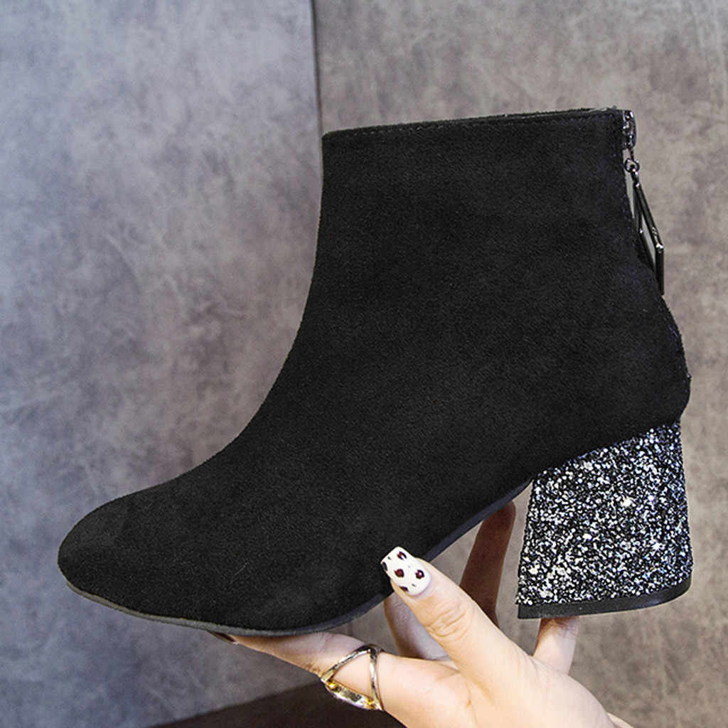 Sequin Heel Women's Boots Fashion Leisure Flock Solid Pointed Toe Zipper Med Heels Ankle Boots for Women Botines Mujer 2019