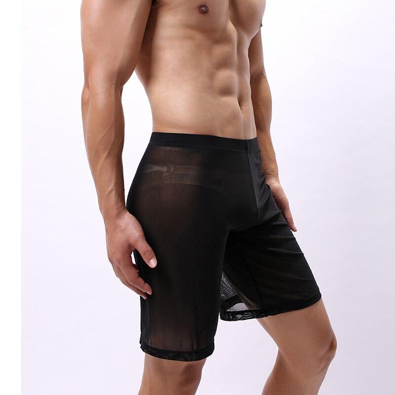 Boxer Men Underwear Sexy Mesh Sleep Bottoms Pajama Men Long Leg Underpants Transparent Panties Shorts Pouch Boxershorts