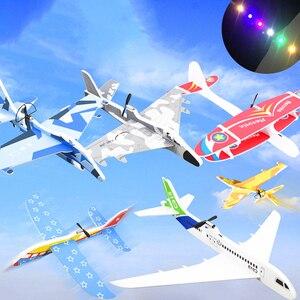 Criança diy modelo aeronaves montado elétrico planador epp espuma mão jogando avião vôo simulação lutador com led luz jogo brinquedos