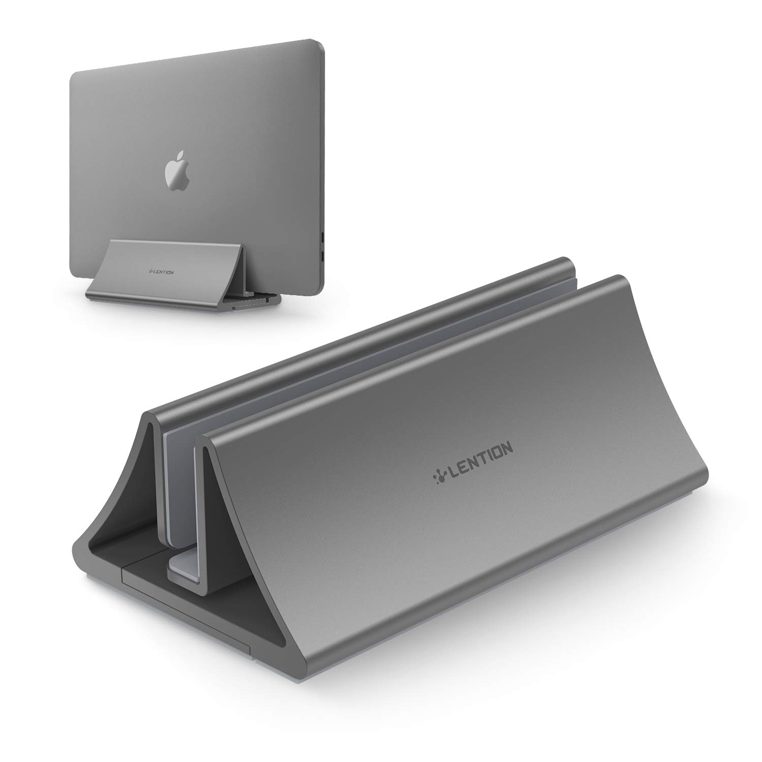 Aluminum Space-Saving Vertical Desktop Stand For MacBook Air/Pro 13 15, IPad Pro 12.9,  Chromebook And 11 To 17-inch Laptop