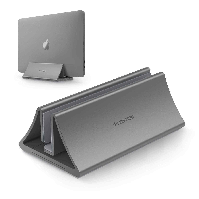 Suporte de mesa vertical de poupança de espaço de alumínio para macbook air/pro 16 13 15, ipad pro 12.9, chromebook e portátil de 11 a 17 polegadas