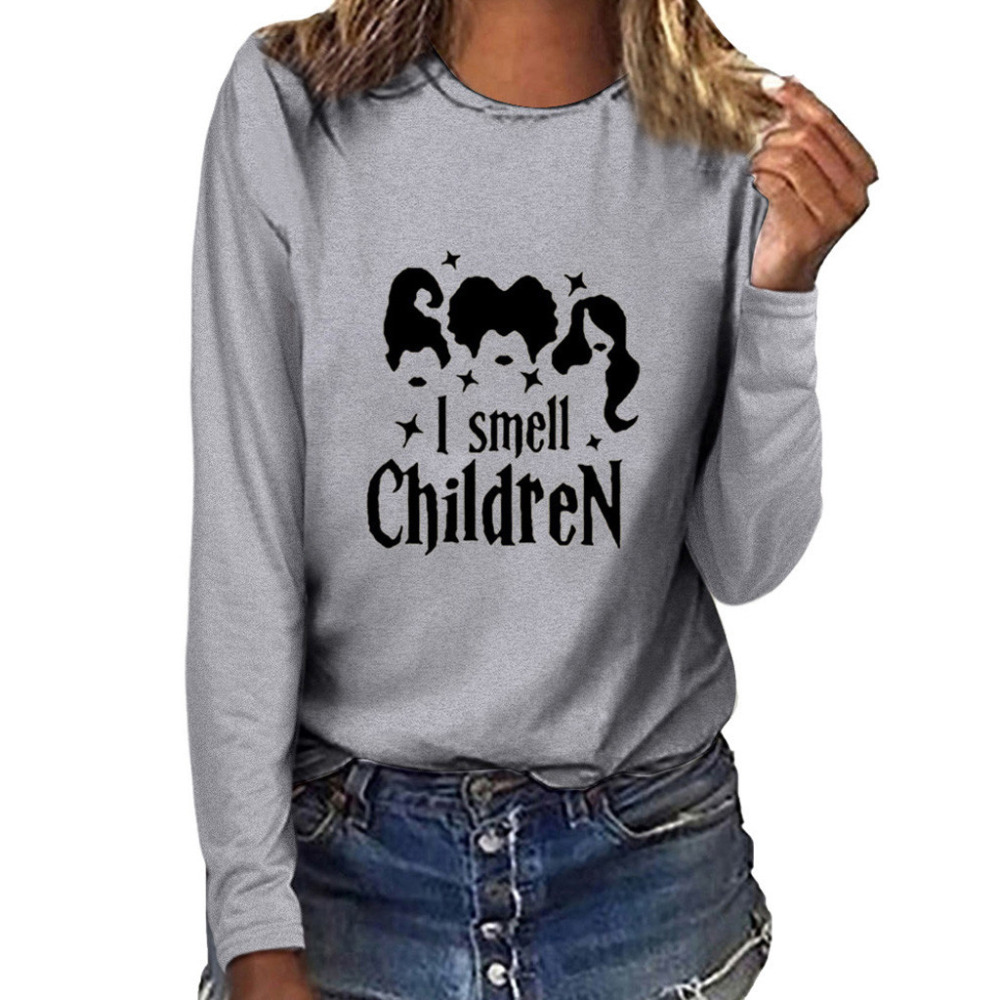 Women Fashion Plus Size Print Round Neck Long Sleeved T-shirt Tops Customized #4S23 (3)