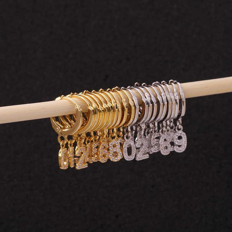 Feelgood 1 шт. Новый Cz обруч с 0-9 арабскими цифрами висячие серьги счастливое число хрящевая спираль мочка серьги ухо пирсинг ювелирные изделия