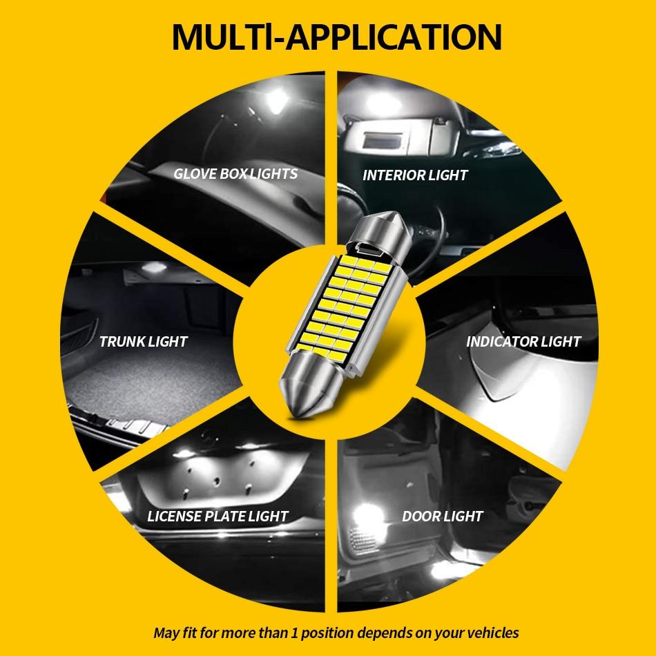 AILEO 1x C10W C5W LED Canbus Festoon 31mm 36mm 39mm 42mm for car Bulb Interior Reading Light License Plate Lamp White Free Error 6