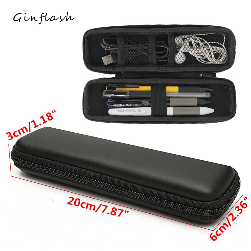 Black EVA Hard Shell Style Waterproof Pen Pencil Case Holder Protective Carrying Box Bag Storage Container OPC097