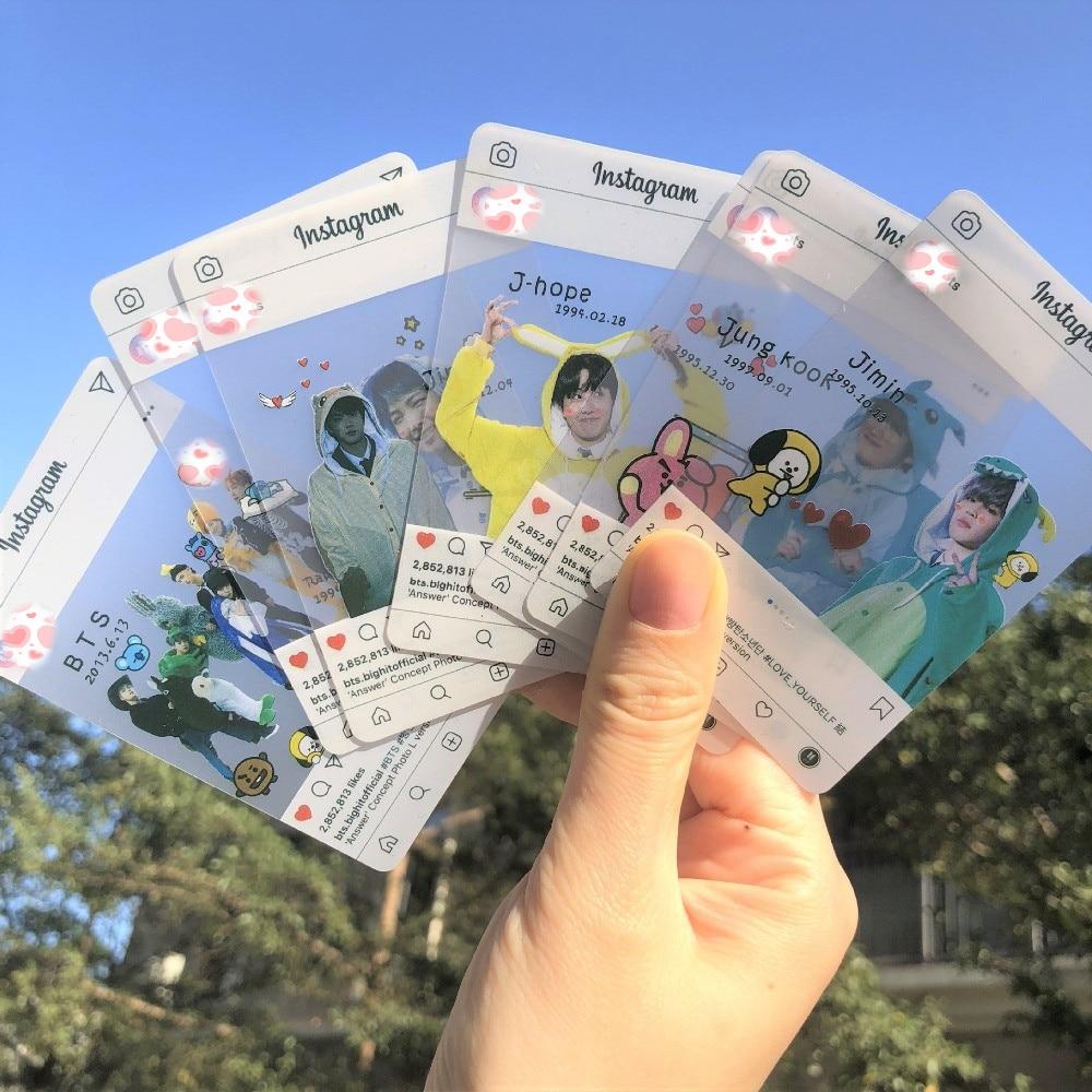 8pcs/lot Korean Star Kim Nam Jun Min Yun Ki Jin Jimin Kim Tae Hyung J-HOPE Jung Kook Photocard Transparent Photo Card Toy Gift