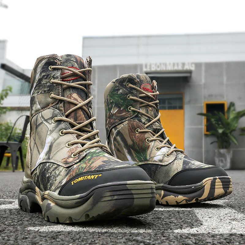 Askeri Ordu Erkek Botları Kış Lace Up Su Geçirmez Savaş Ayak Bileği Taktik kar botu Adam Artı Büyük Boy iş ayakkabısı Erkek