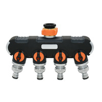 Female 1/2 3/4 Garden 4 way tap water splitter Garden tap Irrigation valve Pipe for Quick connector adapter 1pcs