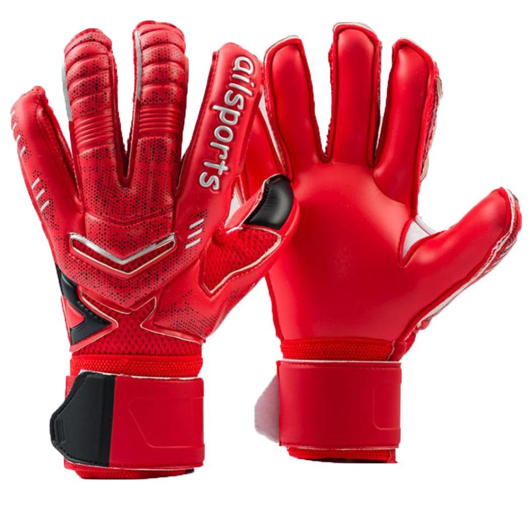 Football Goalkeeper Non-slip Gloves Outdoor Sports Patchwork Thick Latex Gloves Blue, Red