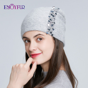Image 1 - ENJOYFUR Winter knitted double layer hats for women fashion sequins and rhinestones  beanies female thick warm 2019 new caps