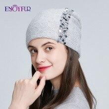 ENJOYFUR الشتاء محبوك طبقة مزدوجة القبعات للنساء الأزياء الترتر وأحجار الراين بيني الإناث سميكة الدافئة 2019 جديد قبعات