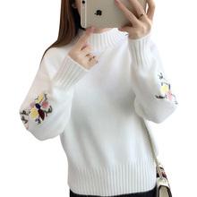 Nowe mody 2020 kobiet jesień zima haft kot marka sweter swetry ciepła rozciągliwa dzianinowa swetry sweter Lady OK298 tanie tanio BHIGJYT Poliester Z wełny CN (pochodzenie) Wiosna jesień Polyester WOOL Mieszkanie dzianiny Drukuj REGULAR Golfem Osób w wieku 18-35 lat