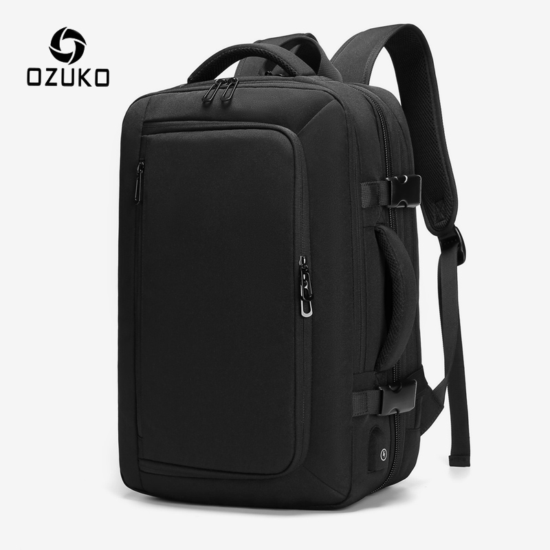 OZUKO Men's Expandable Large Capacity Backpack Waterproof USB Charging Backpack Casual Business 15.6