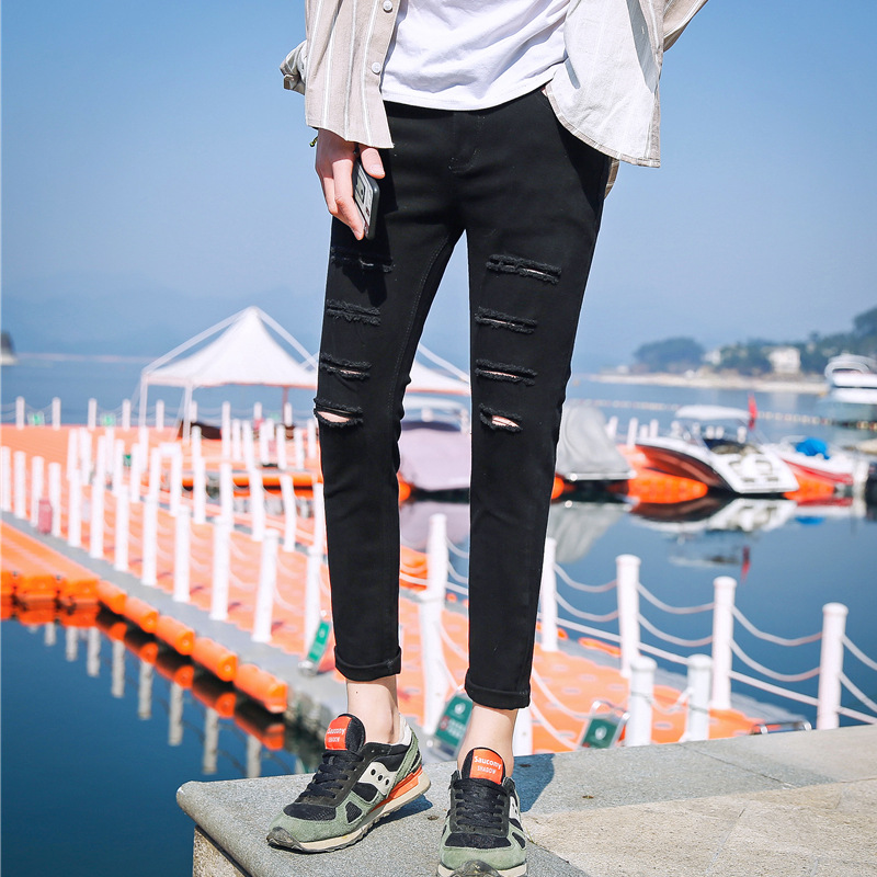 Korean-style Men Capri Pants Skinny Slim Fit With Holes Jeans Men And Women Tight-Fit Black And White With Pattern Couples Begga