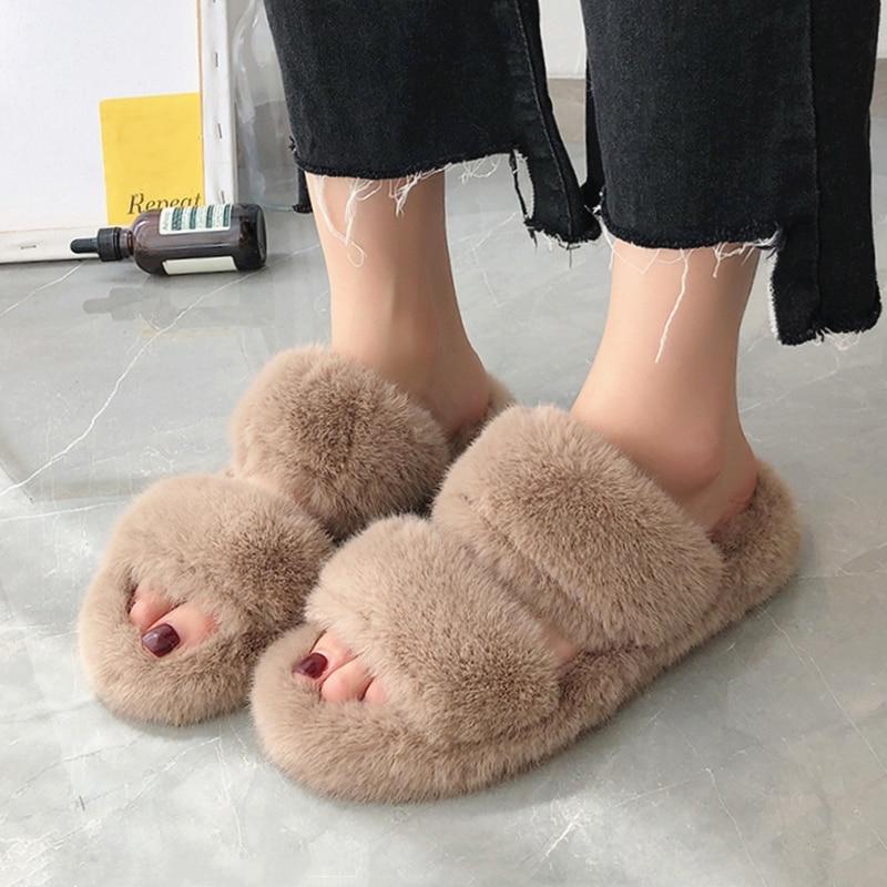 Winter Women House Fuzzy Slippers Fashion Faux Fur Warm Shoes Woman Slip On Flats Female Furry Home Slides Black
