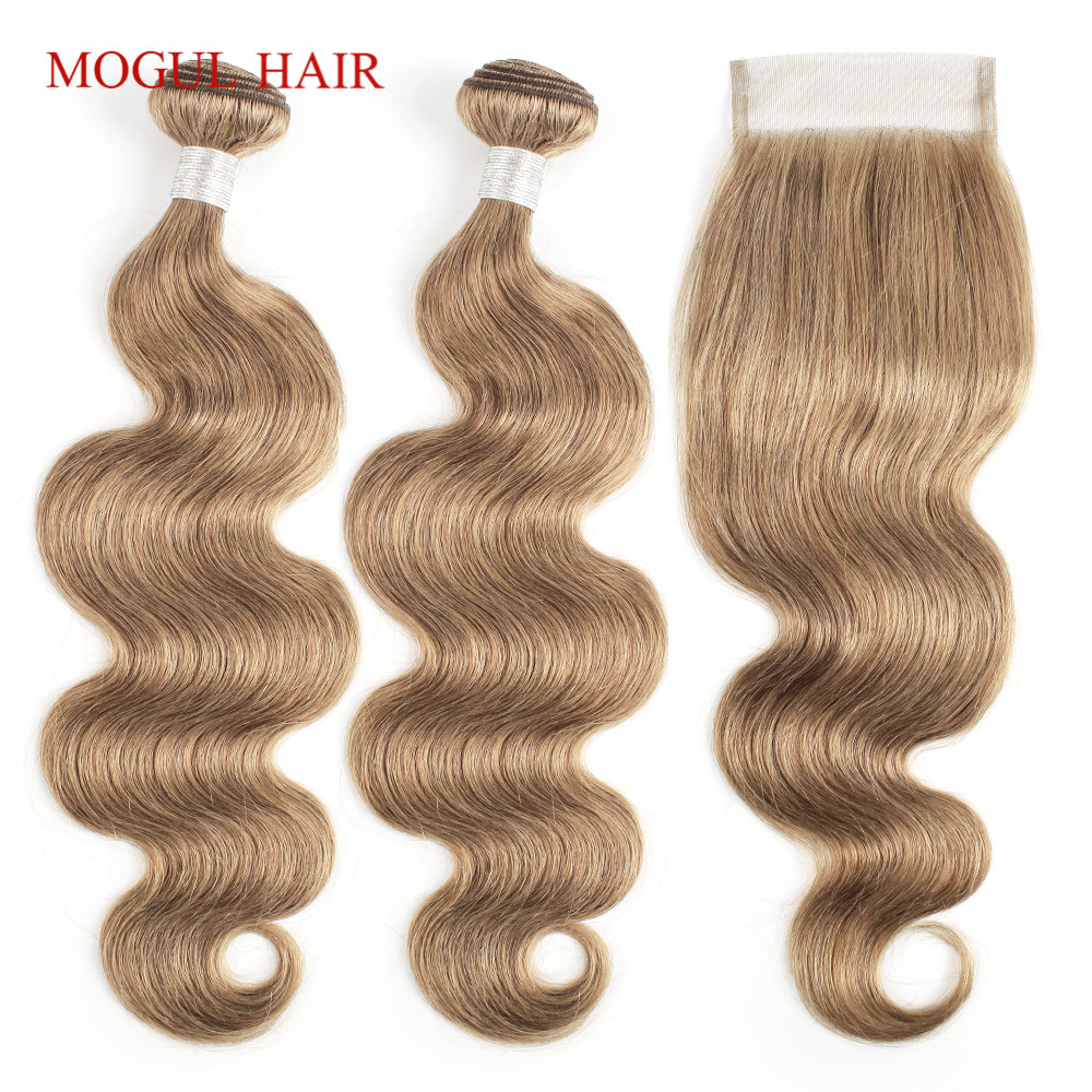 MOGUL HAIR Body Wave Bundles With Closure Color 8 Ash Blonde Pre-Colored Brazilian Non Remy Human Hair Extension