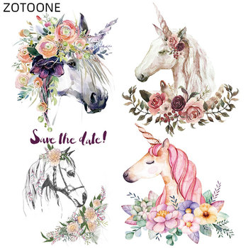 ZOTOONE Flower Unicorn Patches Horse Patch for Kids Diy Iron on Animal Stickers for Clothing Heat Transfer Clothes Appliques E zotoone rose patches iron on blooming flower stickers for clothing heat transfers diy plants patch for kids washable appliques d