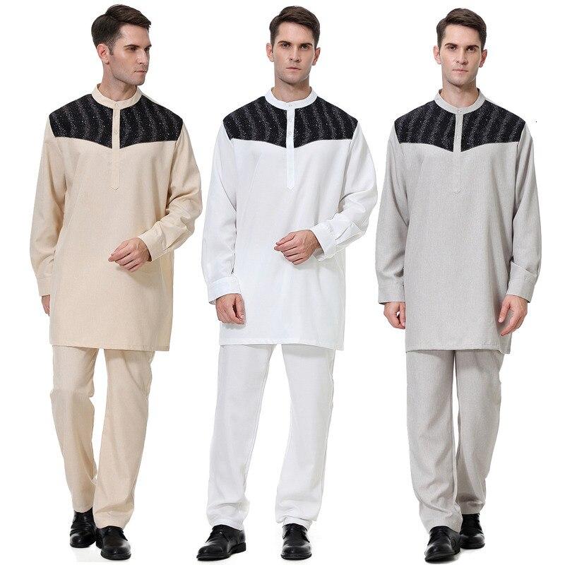 Men Muslim Saudi Arabic Abaya Kaftan Dress Long Sleeve Shirt Casual Pants Qamis Homme Jubba Thobe Robe Arab Islamic Clothing Set