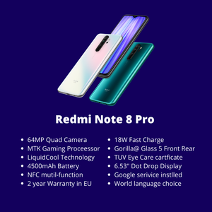 """Image 2 - Redmi Note 8 Pro Xiaomi Global Rom 6 Gb 64 Gb/128 Gb Smartphone G90T Octa Core 6.53"""" 64MP 4500 Mah Nfc Mobiele Telefoon Android [Free shipping provide 2 year Warranty [one year Allianz one year Xiaomi]"""