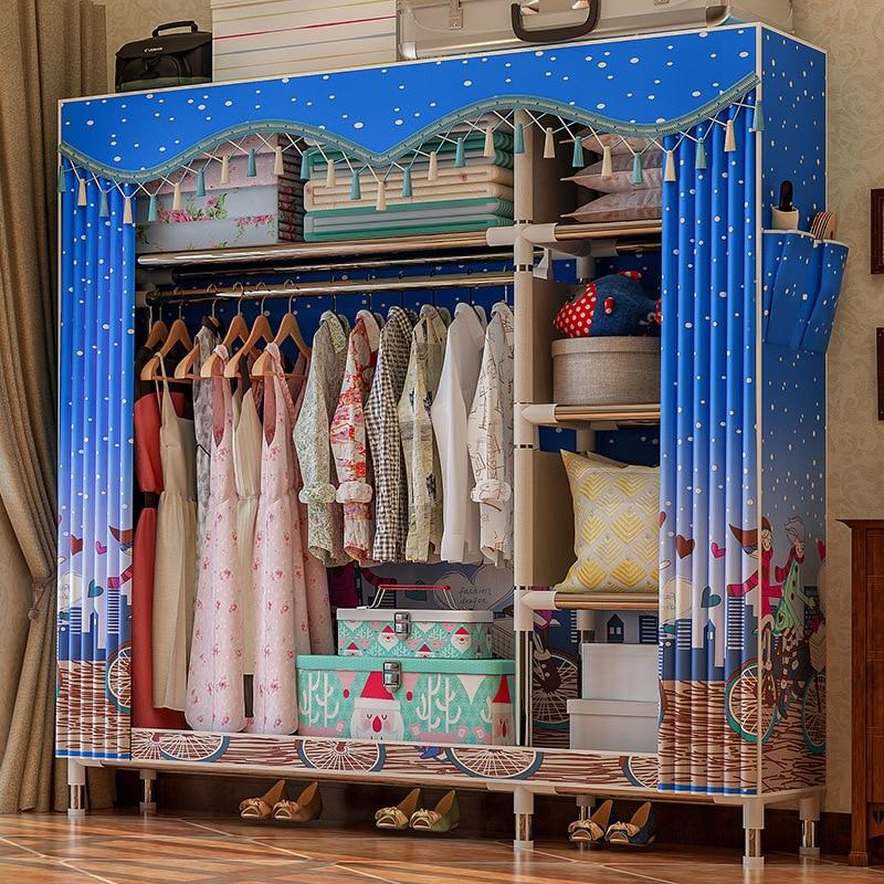 Image 3 - COSTWAY Cloth Wardrobe For clothes Fabric Folding Portable Closet Storage Cabinet Bedroom Home Furniture armario ropero mueblesWardrobes   - AliExpress
