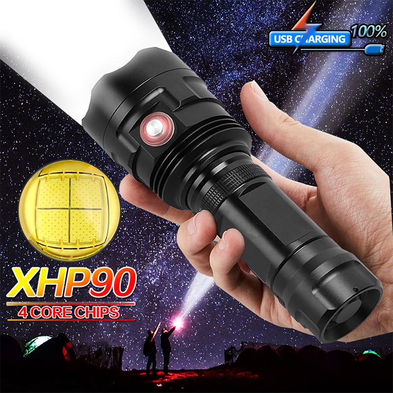 Super Bright XHP90 USB Rechargeable LED Flashlight Powerful Torch Waterproof Hunting Light Use 18650 Or 26650 Battery