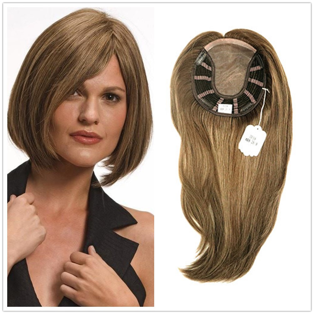 Hstonir Wig Hair Toppers For Women Kosher Jewish Wig Fall Women Toupee European Remy Hair TP18