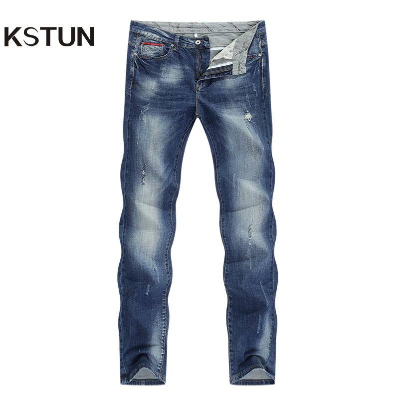 Fashion Ripped Jeans Men Stretch Blue Streetwear Distressed Hip hop Mens jeans Regular Fit Male Long Trousers Pants Big size 40
