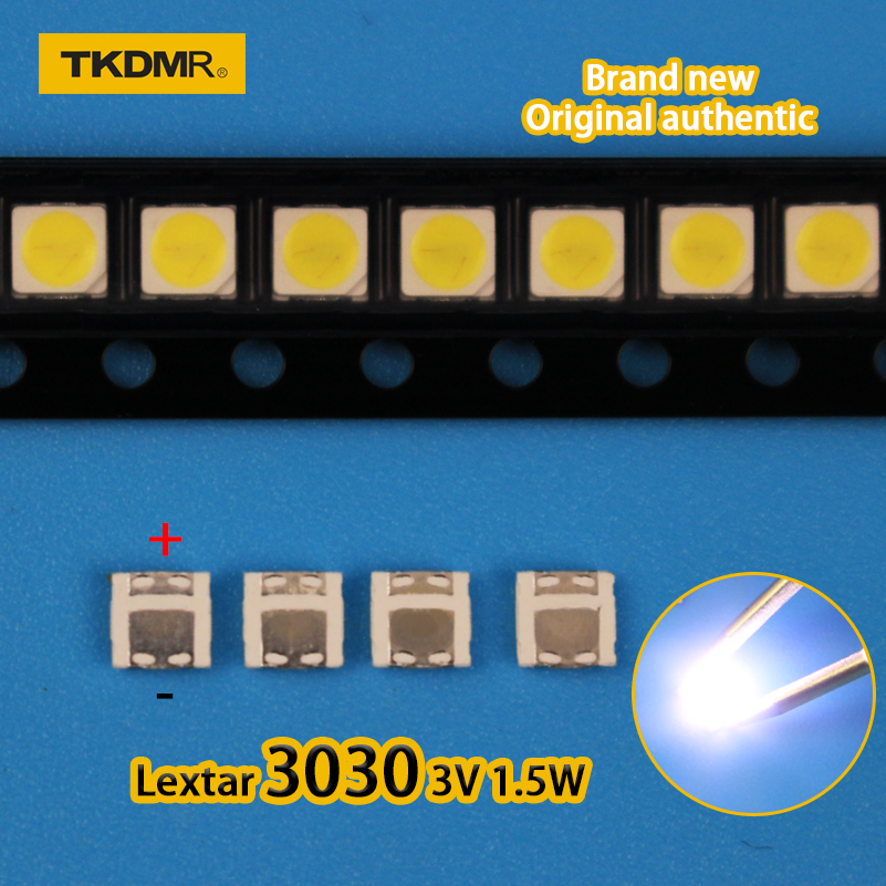 TKDMR 100Pcs Lextar 3030 3V 1.5w 350mA  SMD Lamp Beads For LED TV Backlight Strip Bar Repair TV Cool White Free Shipping